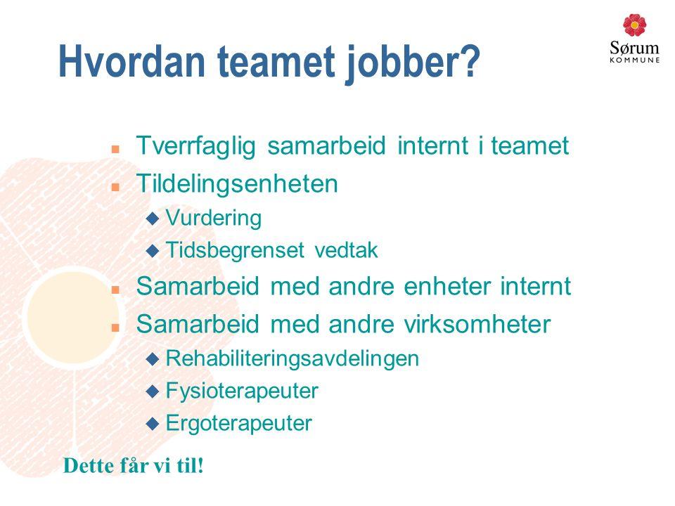 Hvordan teamet jobber? n Tverrfaglig samarbeid internt i teamet n Tildelingsenheten u Vurdering u Tidsbegrenset vedtak n Samarbeid med andre enheter i