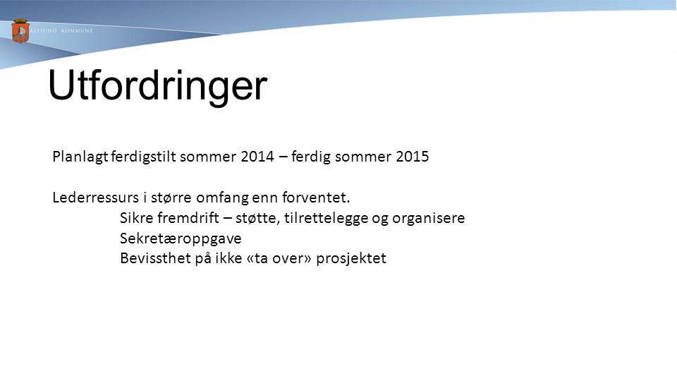 Utfordringer Planlagt ferdigstilt sommer 2014 – ferdig sommer 2015 Lederressurs i større omfang enn forventet. Sikre fremdrift – støtte, tilrettelegge