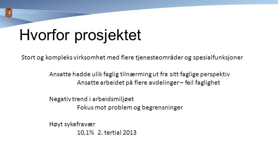 Måloppnåelse sykefravær Før prosjektet: 2013: 2.tertial 10,1%.