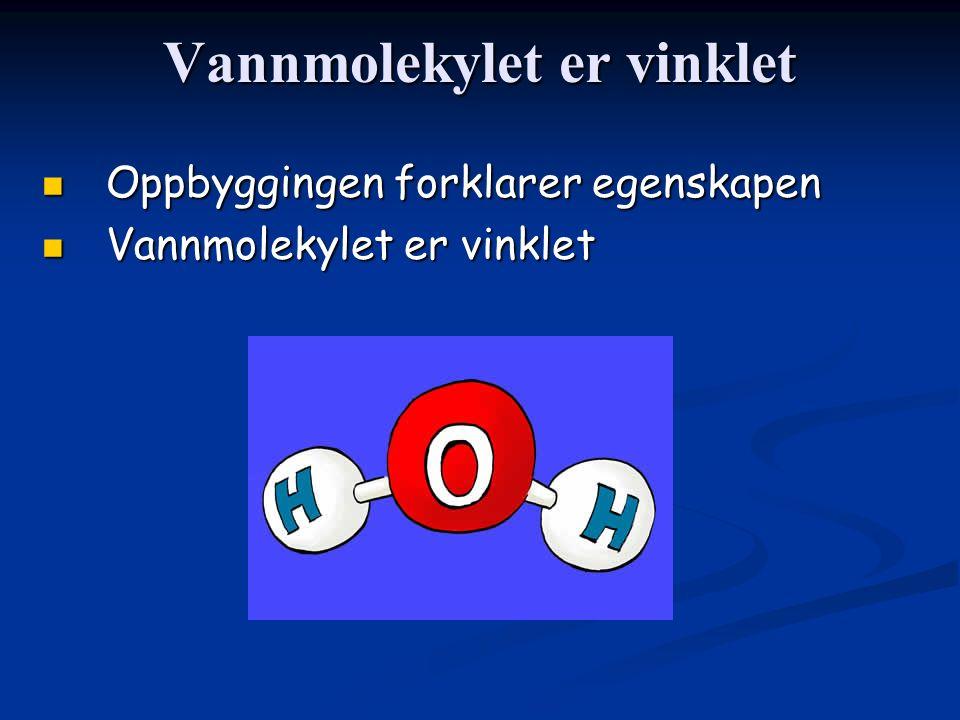 Vannmolekylet er vinklet Oppbyggingen forklarer egenskapen Oppbyggingen forklarer egenskapen Vannmolekylet er vinklet Vannmolekylet er vinklet
