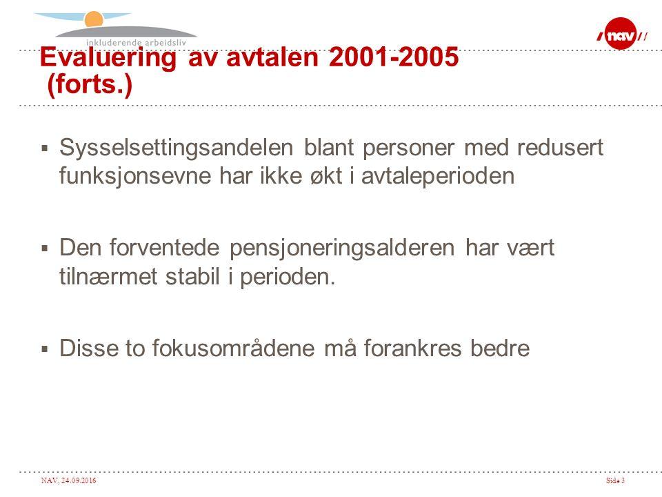 NAV, 24.09.2016Side 3 Evaluering av avtalen 2001-2005 (forts.)  Sysselsettingsandelen blant personer med redusert funksjonsevne har ikke økt i avtale
