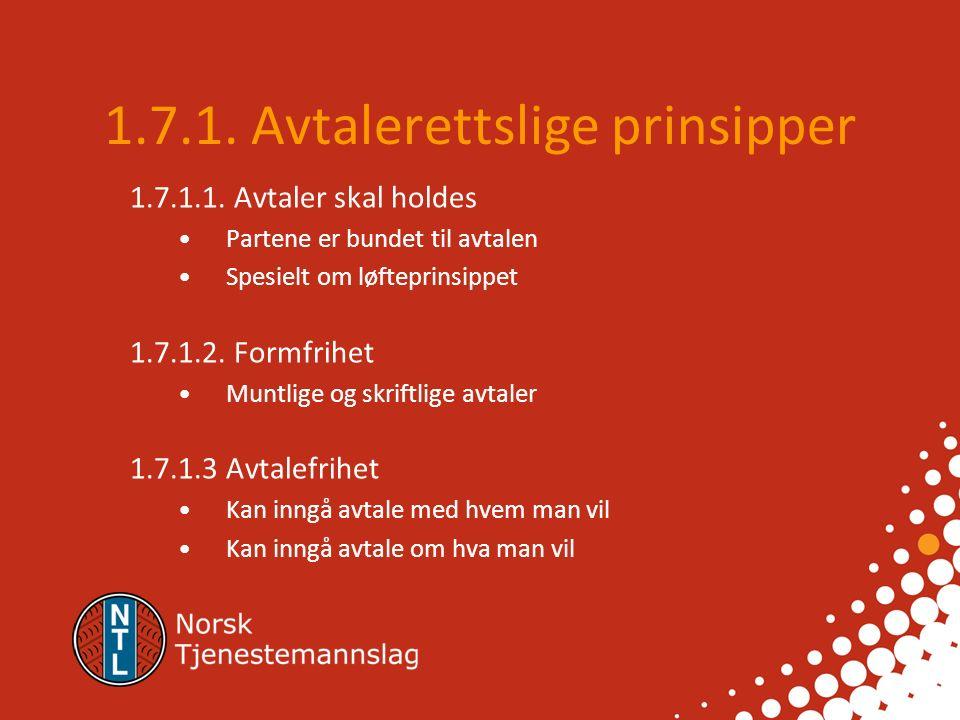 1.7.1.Avtalerettslige prinsipper 1.7.1.1.
