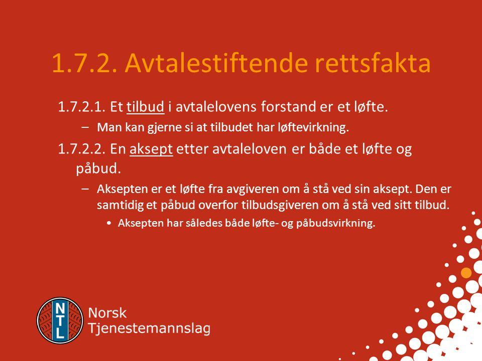 1.7.1. Avtalerettslige prinsipper 1.7.1.1. Avtaler skal holdes Partene er bundet til avtalen Spesielt om løfteprinsippet 1.7.1.2. Formfrihet Muntlige