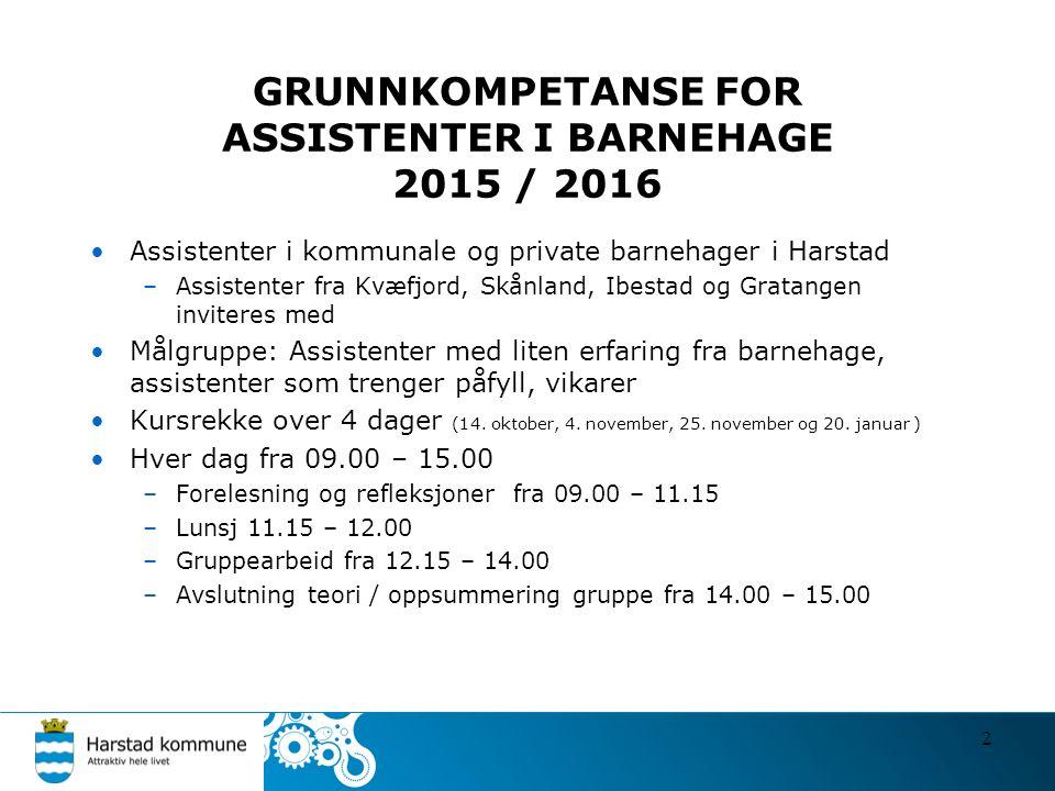 GRUNNKOMPETANSE FOR ASSISTENTER I BARNEHAGE 2015 / 2016 Assistenter i kommunale og private barnehager i Harstad –Assistenter fra Kvæfjord, Skånland, I