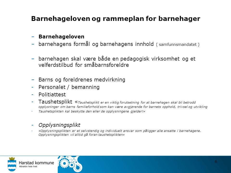 Barnehageloven og rammeplan for barnehager –Barnehageloven –barnehagens formål og barnehagens innhold ( samfunnsmandatet ) –barnehagen skal være både