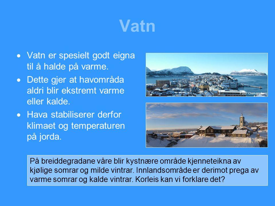 Vatn  Vatn er spesielt godt eigna til å halde på varme.
