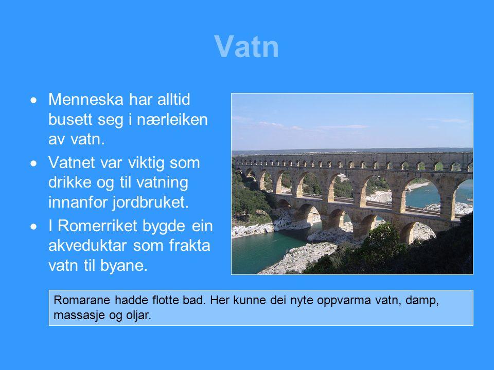 Vatn  Menneska har alltid busett seg i nærleiken av vatn.