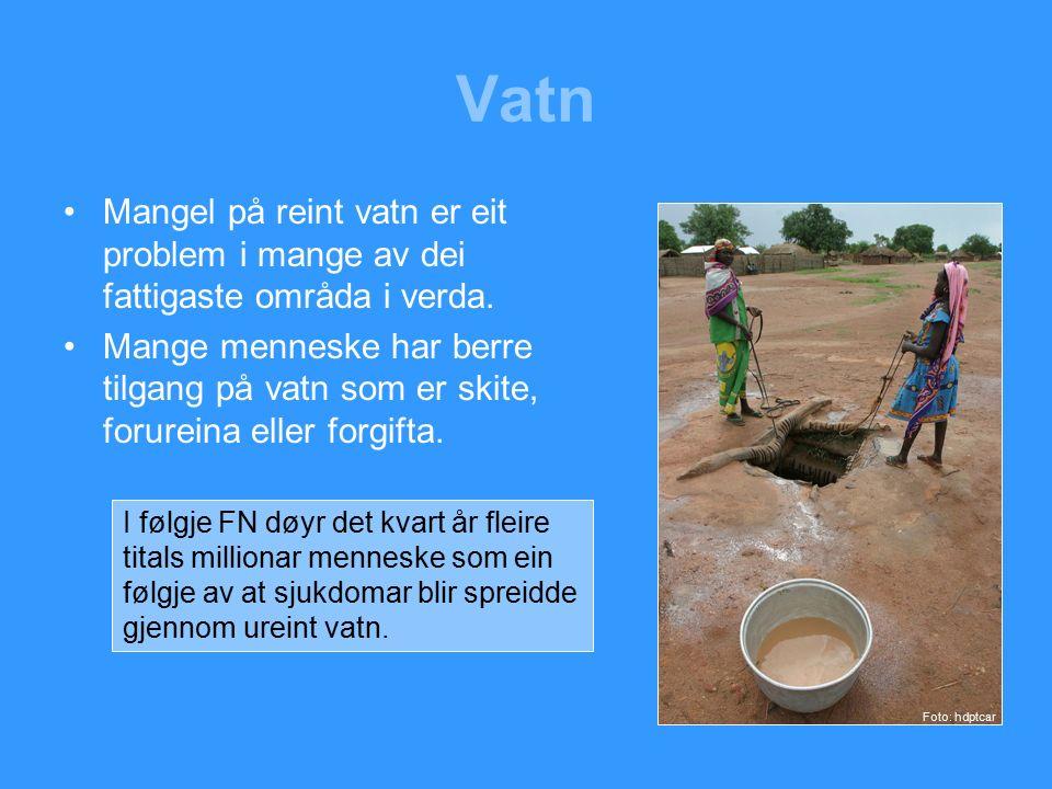 Vatn Mangel på reint vatn er eit problem i mange av dei fattigaste områda i verda.