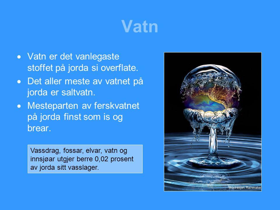 Vatn  Vatn er det vanlegaste stoffet på jorda si overflate.