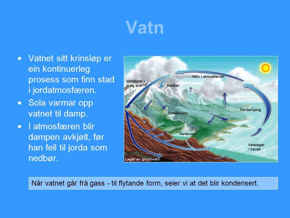 Vatn  Vatnet sitt krinsløp er ein kontinuerleg prosess som finn stad i jordatmosfæren.