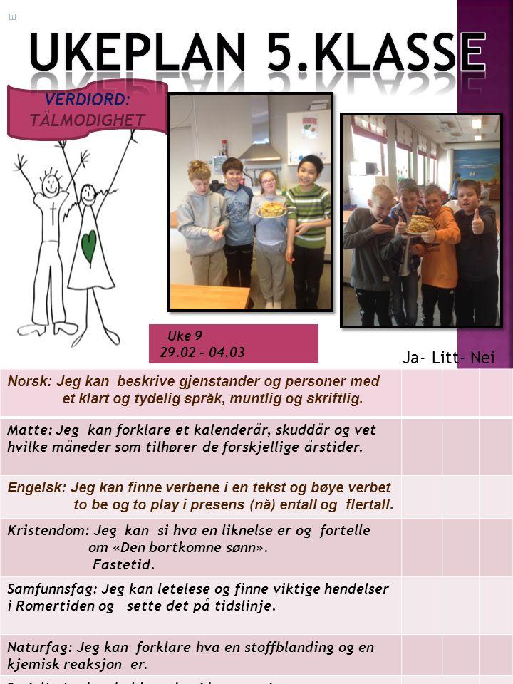 Uke 9 29.02 - 04.03 Norsk: Jeg kan beskrive gjenstander og personer med et klart og tydelig språk, muntlig og skriftlig.