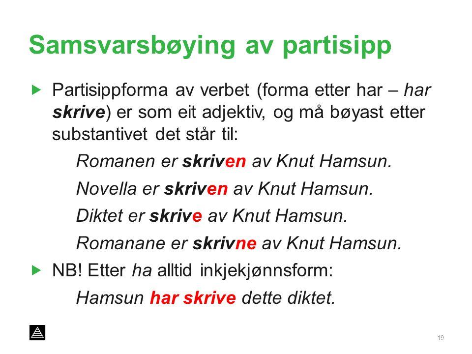 Samsvarsbøying av partisipp  Partisippforma av verbet (forma etter har – har skrive) er som eit adjektiv, og må bøyast etter substantivet det står til: Romanen er skriven av Knut Hamsun.