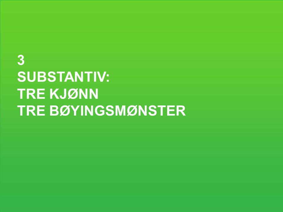 3 SUBSTANTIV: TRE KJØNN TRE BØYINGSMØNSTER