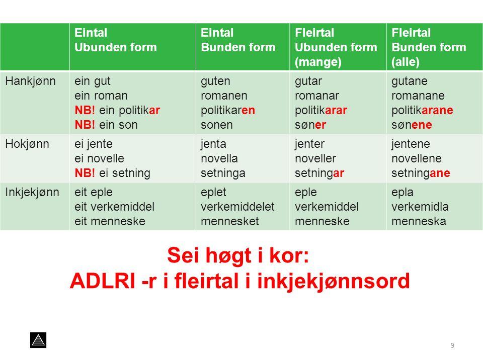 9 Eintal Ubunden form Eintal Bunden form Fleirtal Ubunden form (mange) Fleirtal Bunden form (alle) Hankjønnein gut ein roman NB.