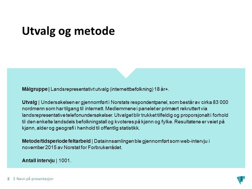 I Utvalg og metode Målgruppe | Landsrepresentativt utvalg (internettbefolkning) 18 år+. Utvalg | Undersøkelsen er gjennomført i Norstats respondentpan
