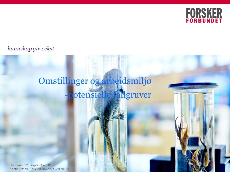 Omstillinger og arbeidsmiljø -potensielle fallgruver kunnskap gir vekst Drammen 22..
