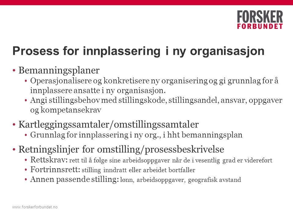 Prosess for innplassering i ny organisasjon Bemanningsplaner Operasjonalisere og konkretisere ny organisering og gi grunnlag for å innplassere ansatte i ny organisasjon.
