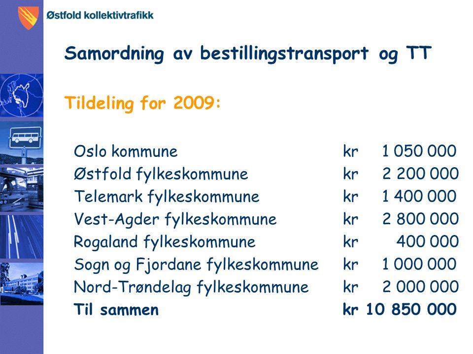 Samordning av bestillingstransport og TT Tildeling for 2009: Oslo kommune kr 1 050 000 Østfold fylkeskommune kr 2 200 000 Telemark fylkeskommune kr 1