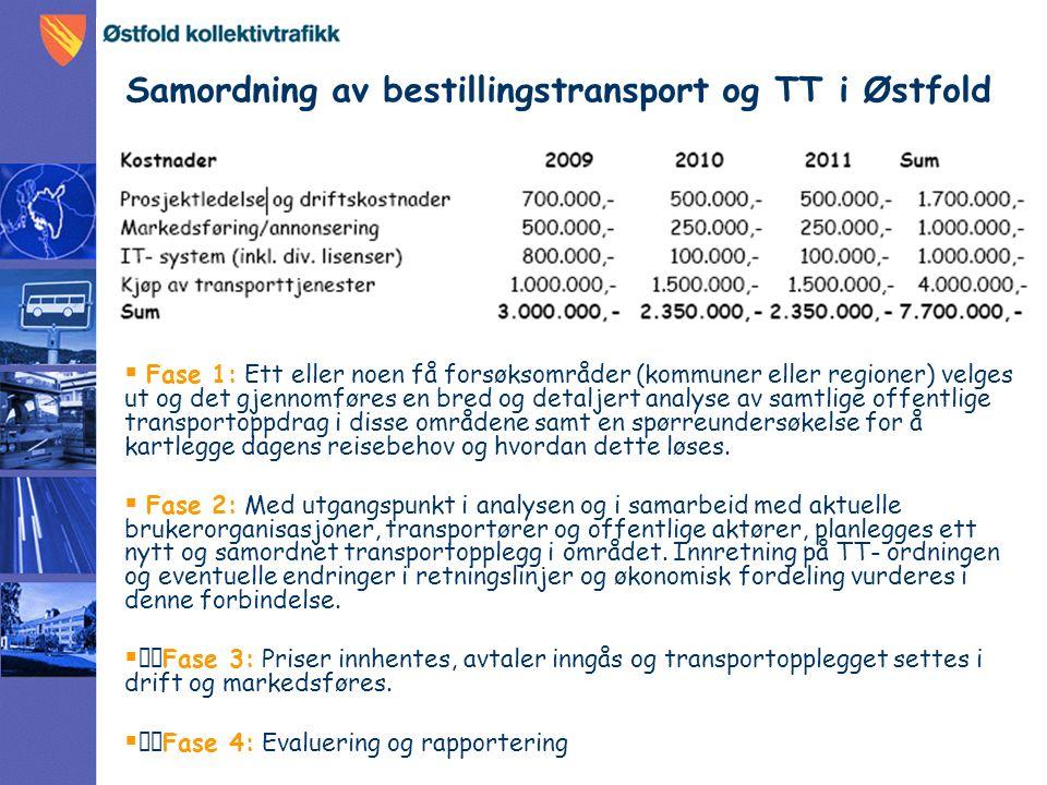 Samordning av bestillingstransport og TT i Østfold  Fase 1: Ett eller noen få forsøksområder (kommuner eller regioner) velges ut og det gjennomføres