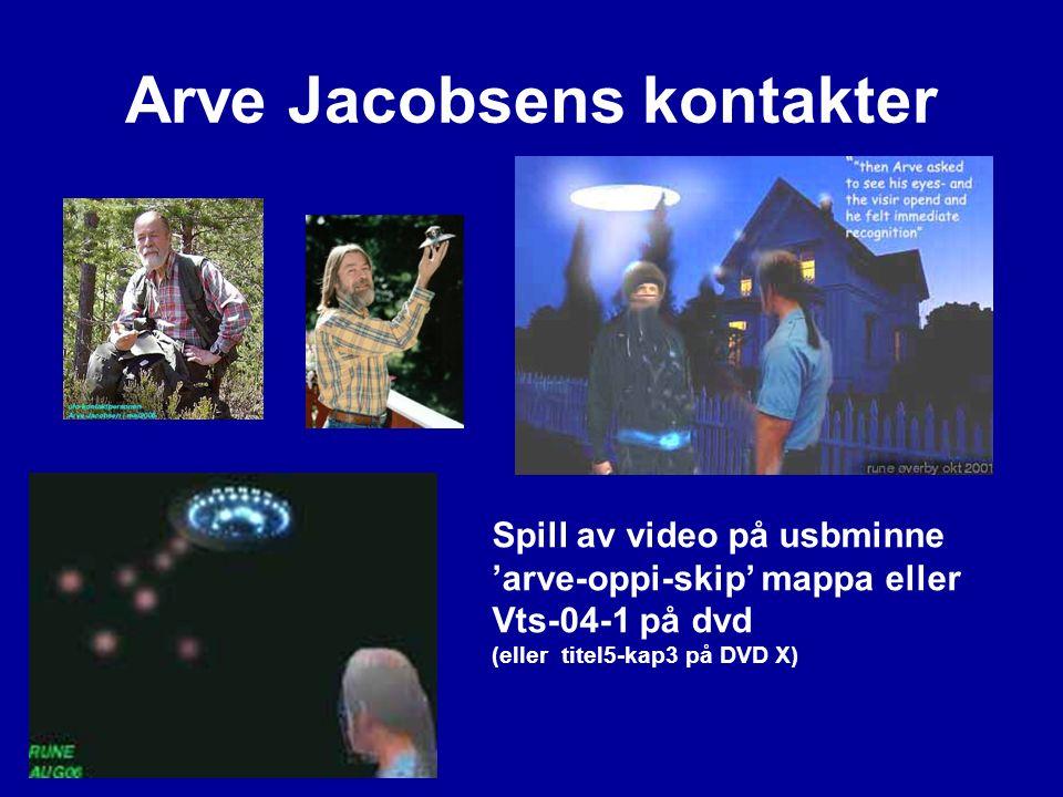 Arve Jacobsens kontakter Spill av video på usbminne 'arve-oppi-skip' mappa eller Vts-04-1 på dvd (eller titel5-kap3 på DVD X)