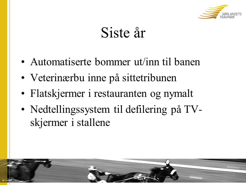 Siste år Automatiserte bommer ut/inn til banen Veterinærbu inne på sittetribunen Flatskjermer i restauranten og nymalt Nedtellingssystem til defilering på TV- skjermer i stallene