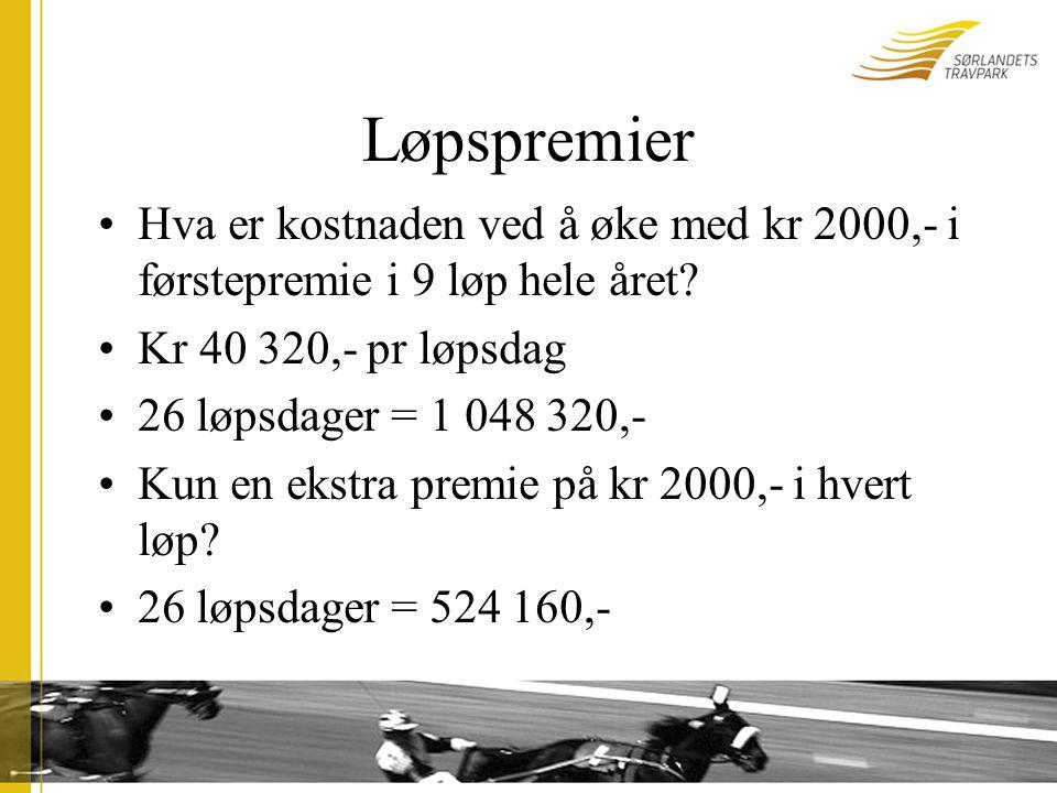 Løpspremier Hva er kostnaden ved å øke med kr 2000,- i førstepremie i 9 løp hele året.