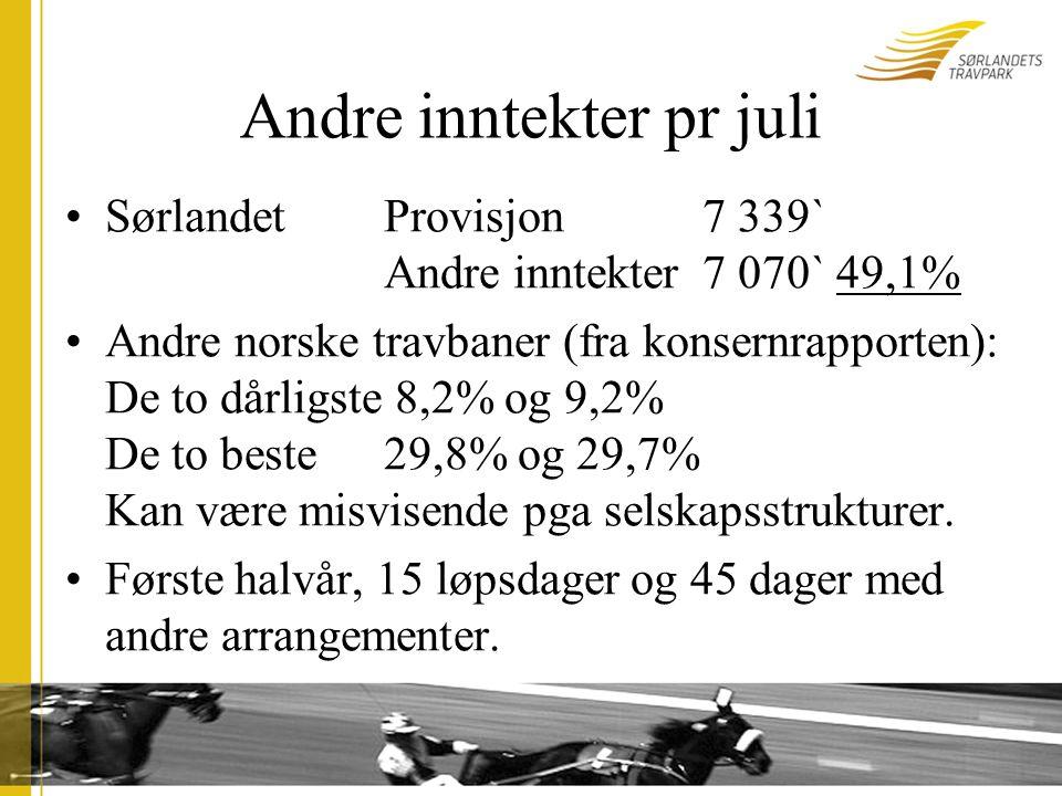 Andre inntekter pr juli SørlandetProvisjon7 339` Andre inntekter7 070` 49,1% Andre norske travbaner (fra konsernrapporten): De to dårligste 8,2% og 9,2% De to beste29,8% og 29,7% Kan være misvisende pga selskapsstrukturer.