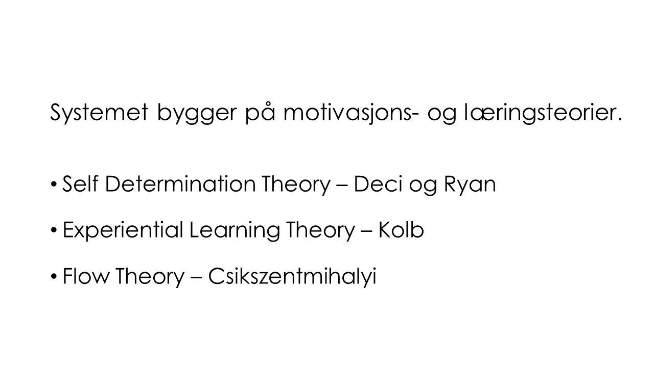 Systemet bygger på motivasjons- og læringsteorier. Self Determination Theory – Deci og Ryan Experiential Learning Theory – Kolb Flow Theory – Csikszen