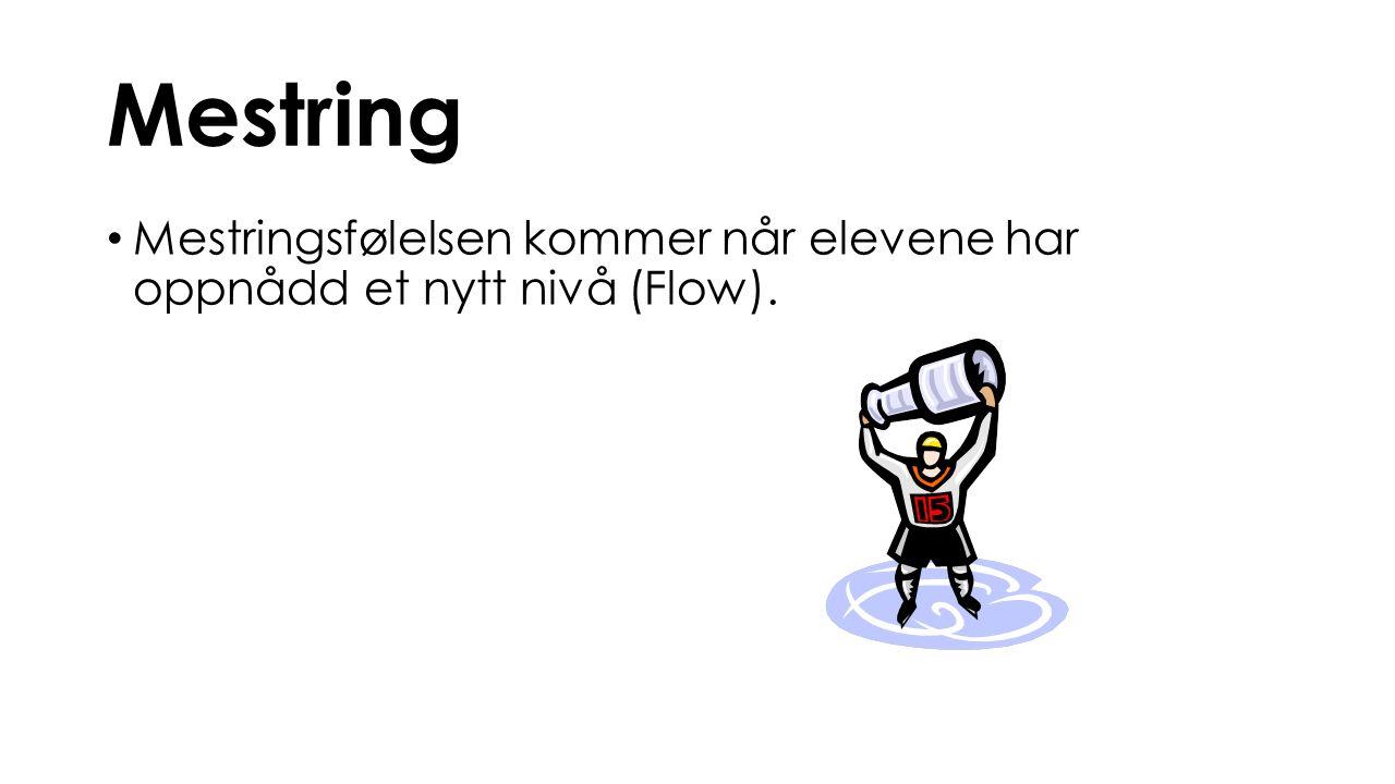 Mestring Mestringsfølelsen kommer når elevene har oppnådd et nytt nivå (Flow).