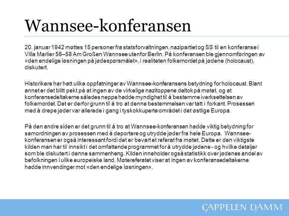 Wannsee-konferansen 20. januar 1942 møttes 15 personer fra statsforvaltningen, nazipartiet og SS til en konferanse i Villa Marlier 56–58 Am Großen Wan