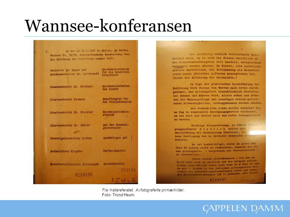 Wannsee-konferansen Oppgaver: 1.Hva var temaet for Wannsee-konferansen.