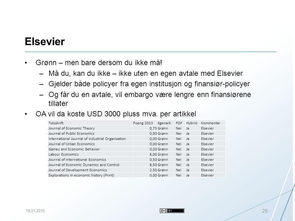 Elsevier 19.01.2015 29 Grønn – men bare dersom du ikke må.