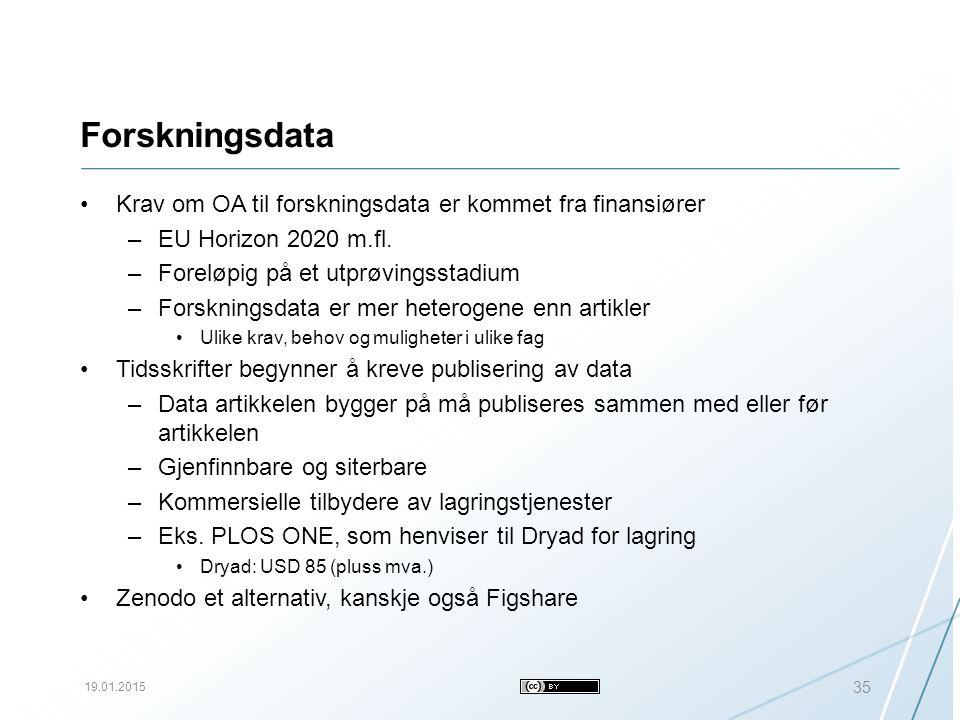 Forskningsdata Krav om OA til forskningsdata er kommet fra finansiører –EU Horizon 2020 m.fl.