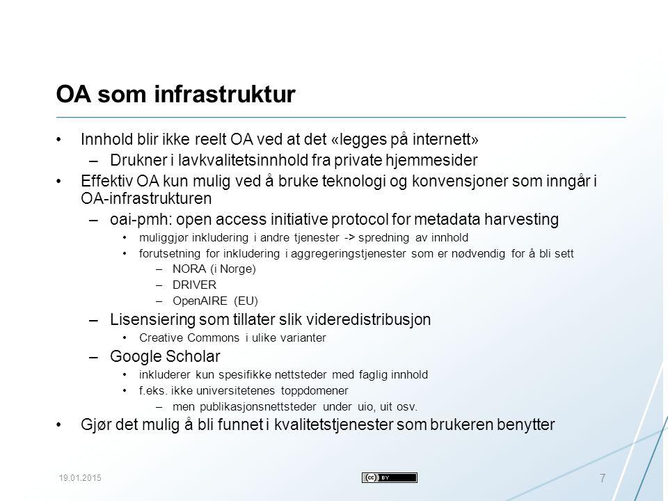 OA som infrastruktur Innhold blir ikke reelt OA ved at det «legges på internett» –Drukner i lavkvalitetsinnhold fra private hjemmesider Effektiv OA kun mulig ved å bruke teknologi og konvensjoner som inngår i OA-infrastrukturen –oai-pmh: open access initiative protocol for metadata harvesting muliggjør inkludering i andre tjenester -> spredning av innhold forutsetning for inkludering i aggregeringstjenester som er nødvendig for å bli sett –NORA (i Norge) –DRIVER –OpenAIRE (EU) –Lisensiering som tillater slik videredistribusjon Creative Commons i ulike varianter –Google Scholar inkluderer kun spesifikke nettsteder med faglig innhold f.eks.