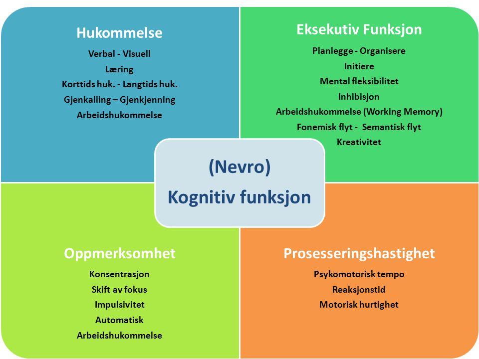 Hukommelse Verbal - Visuell Læring Korttids huk. - Langtids huk.
