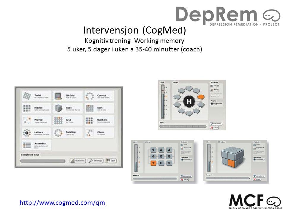 Intervensjon (CogMed) Kognitiv trening- Working memory 5 uker, 5 dager i uken a 35-40 minutter (coach) http://www.cogmed.com/qm