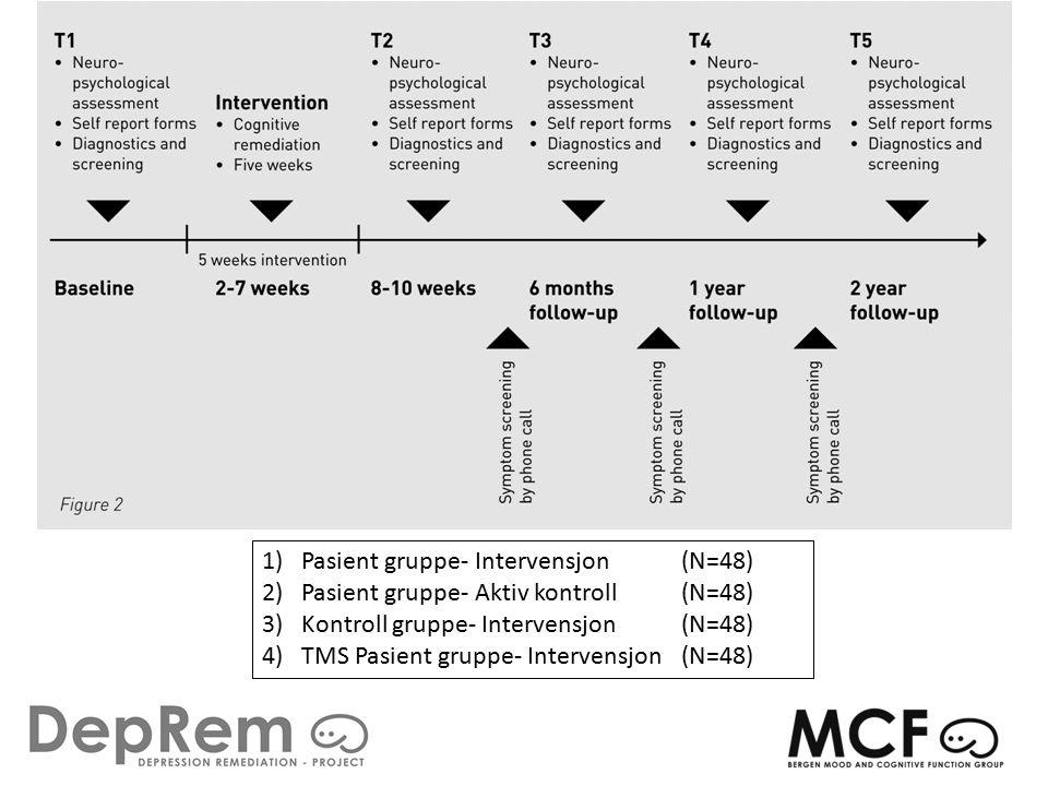 1)Pasient gruppe- Intervensjon (N=48) 2)Pasient gruppe- Aktiv kontroll (N=48) 3)Kontroll gruppe- Intervensjon (N=48) 4)TMS Pasient gruppe- Intervensjon (N=48)