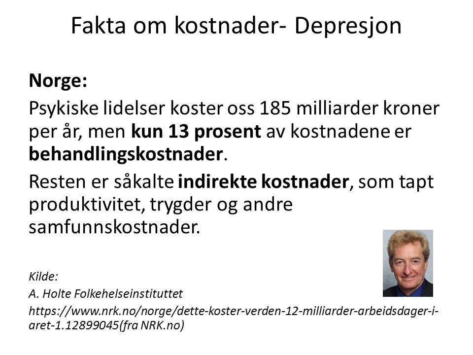 Fakta om kostnader- Depresjon Norge: Psykiske lidelser koster oss 185 milliarder kroner per år, men kun 13 prosent av kostnadene er behandlingskostnader.