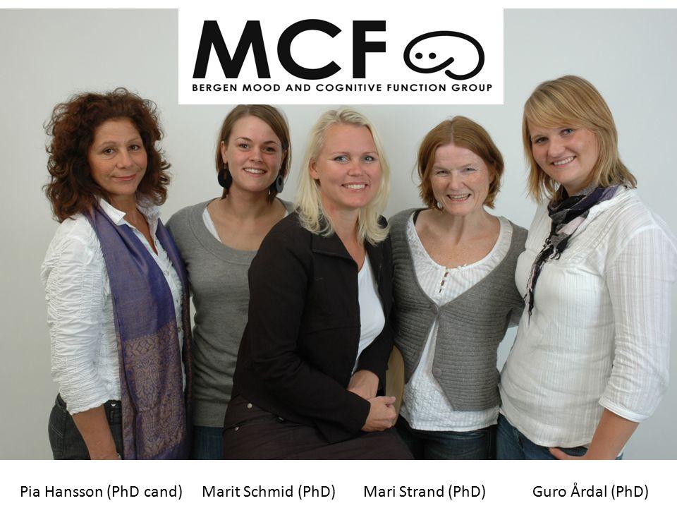 Pia Hansson (PhD cand) Marit Schmid (PhD) Mari Strand (PhD) Guro Årdal (PhD)