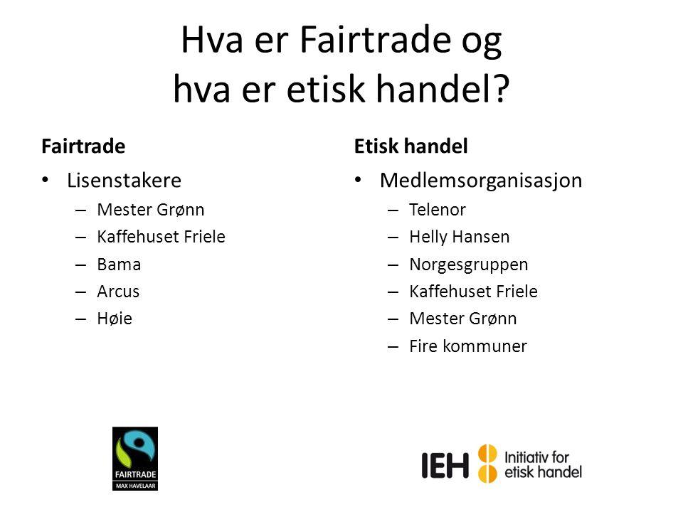 Hva er Fairtrade og hva er etisk handel? Fairtrade Lisenstakere – Mester Grønn – Kaffehuset Friele – Bama – Arcus – Høie Etisk handel Medlemsorganisas