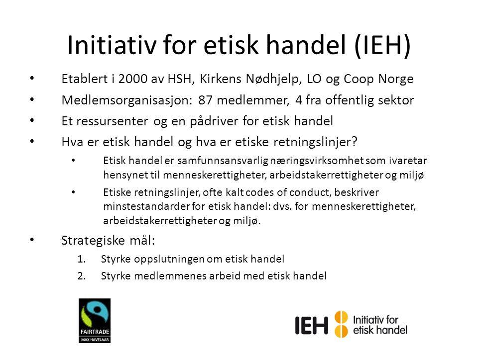Initiativ for etisk handel (IEH) Etablert i 2000 av HSH, Kirkens Nødhjelp, LO og Coop Norge Medlemsorganisasjon: 87 medlemmer, 4 fra offentlig sektor