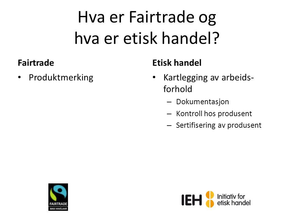 Hva er Fairtrade og hva er etisk handel? Fairtrade Produktmerking Etisk handel Kartlegging av arbeids- forhold – Dokumentasjon – Kontroll hos produsen