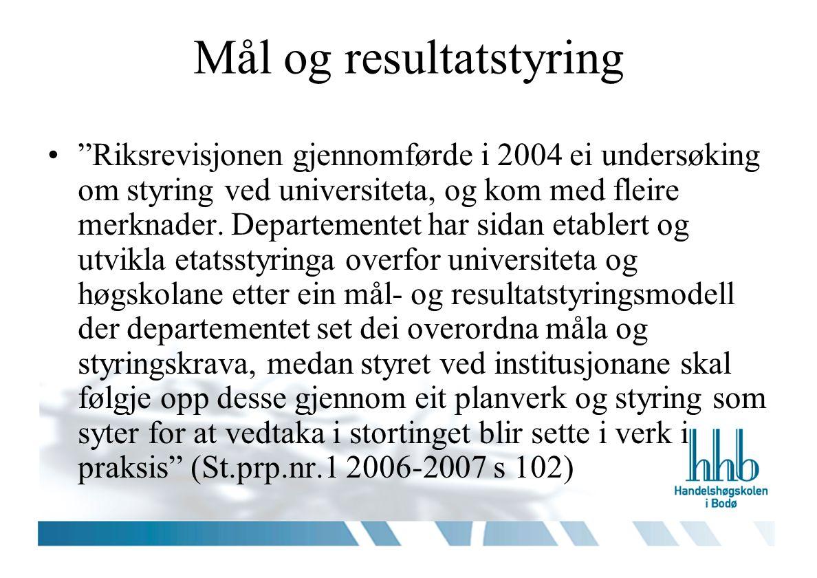Mål og resultatstyring Riksrevisjonen gjennomførde i 2004 ei undersøking om styring ved universiteta, og kom med fleire merknader.