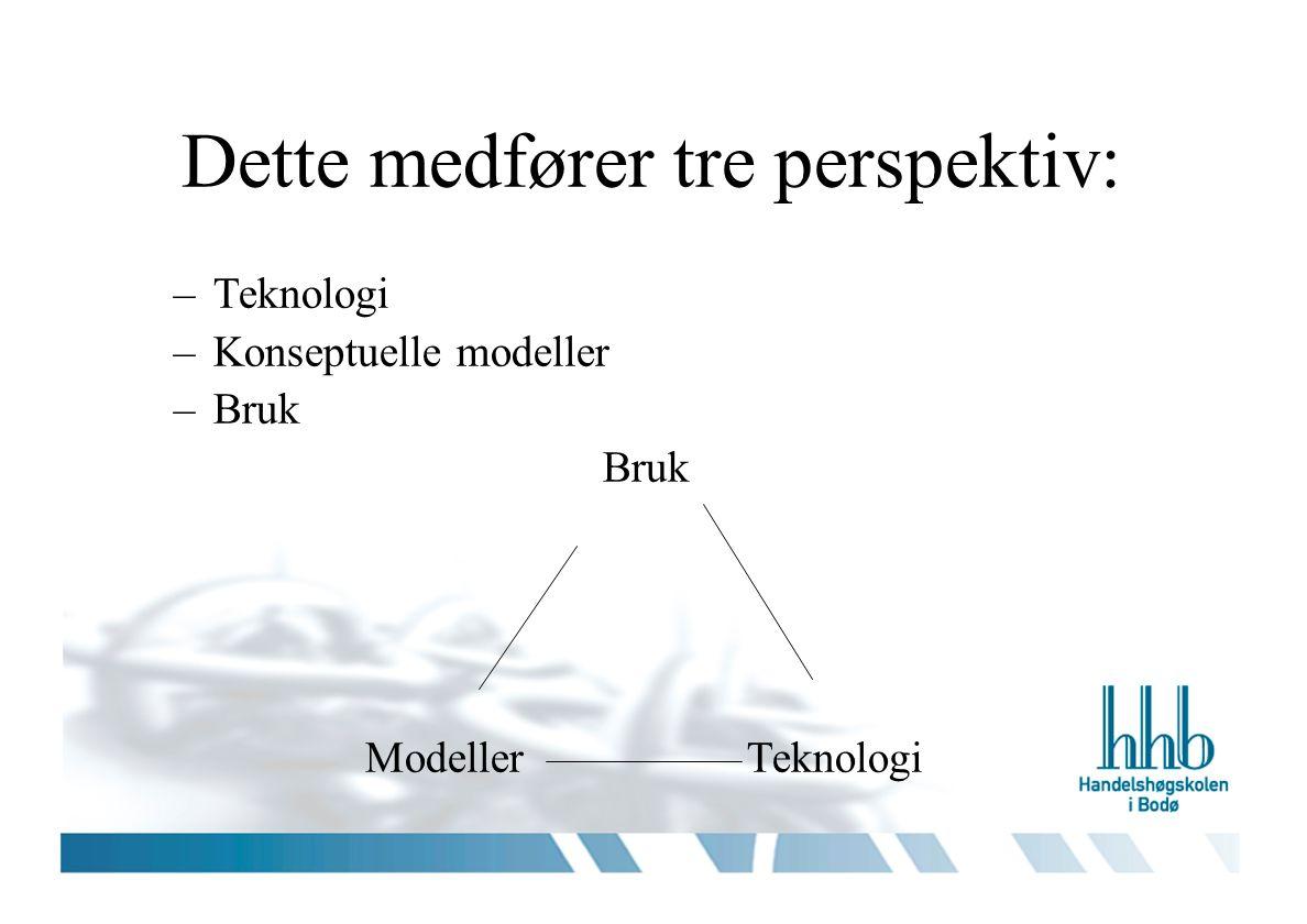 Dette medfører tre perspektiv: –Teknologi –Konseptuelle modeller –Bruk Bruk ModellerTeknologi
