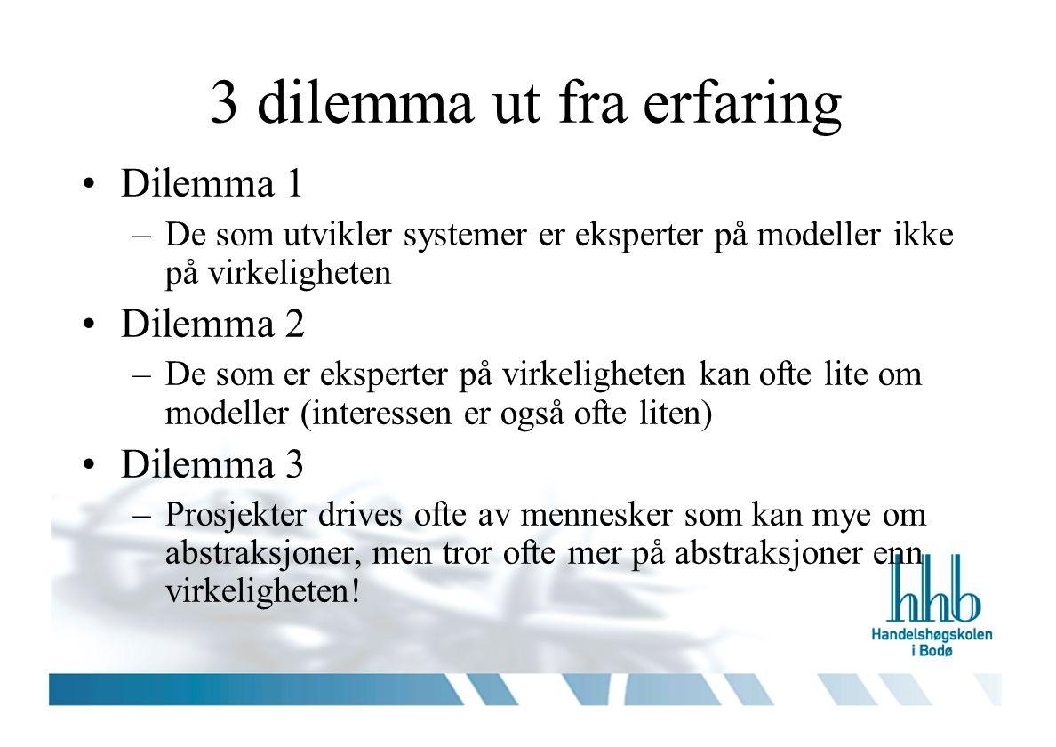 3 dilemma ut fra erfaring Dilemma 1 –De som utvikler systemer er eksperter på modeller ikke på virkeligheten Dilemma 2 –De som er eksperter på virkeligheten kan ofte lite om modeller (interessen er også ofte liten) Dilemma 3 –Prosjekter drives ofte av mennesker som kan mye om abstraksjoner, men tror ofte mer på abstraksjoner enn virkeligheten!