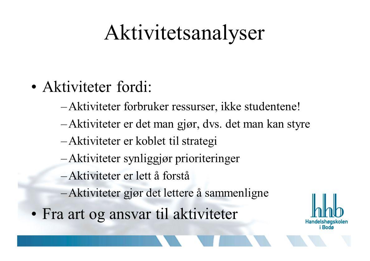 Aktivitetsanalyser Aktiviteter fordi: –Aktiviteter forbruker ressurser, ikke studentene.