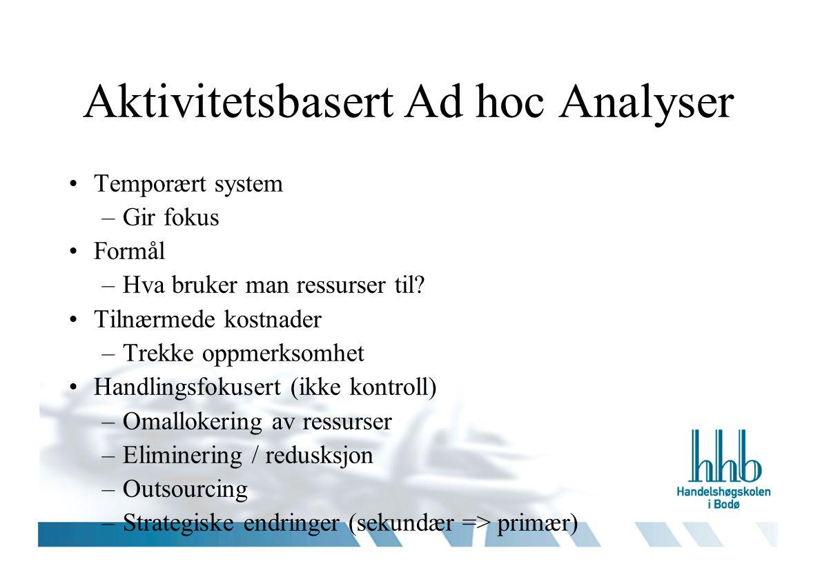Aktivitetsbasert Ad hoc Analyser Temporært system –Gir fokus Formål –Hva bruker man ressurser til.