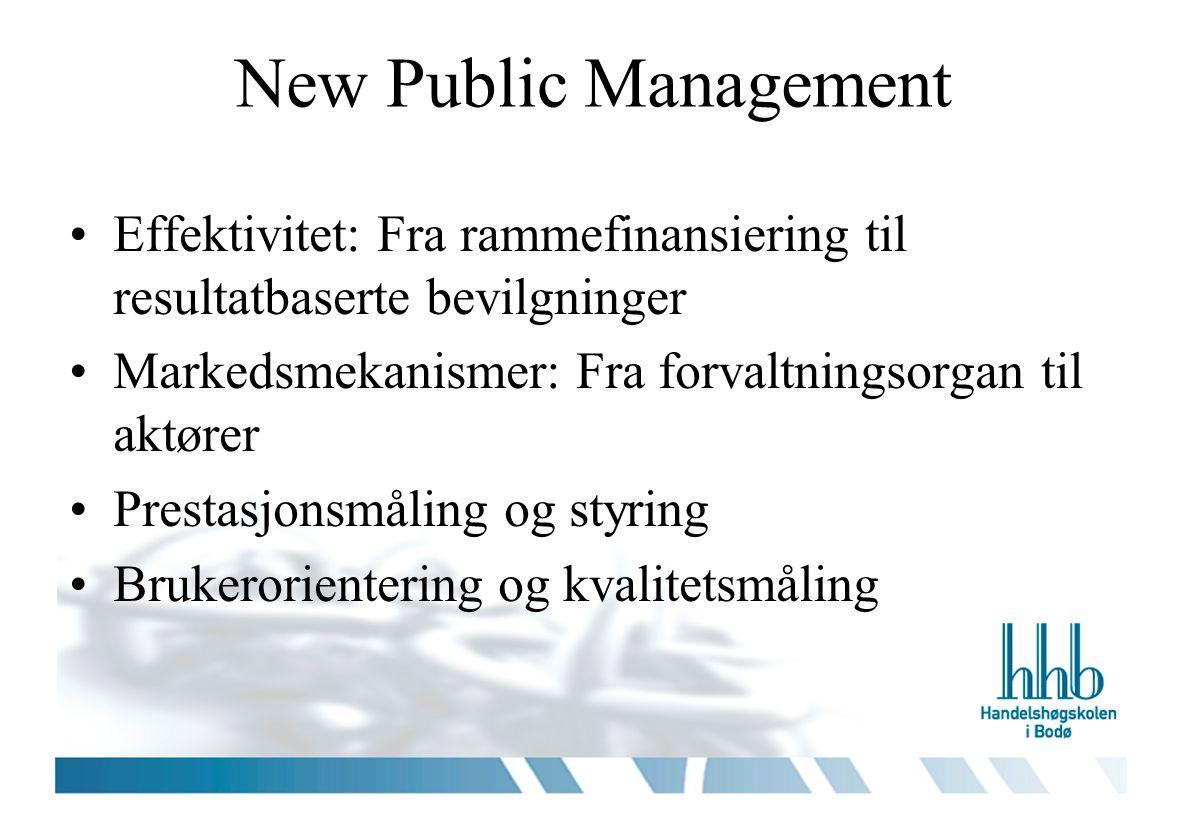 New Public Management Effektivitet: Fra rammefinansiering til resultatbaserte bevilgninger Markedsmekanismer: Fra forvaltningsorgan til aktører Prestasjonsmåling og styring Brukerorientering og kvalitetsmåling