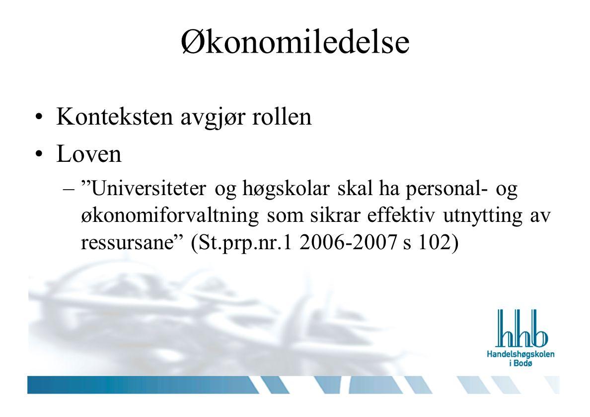 Økonomiledelse Konteksten avgjør rollen Loven – Universiteter og høgskolar skal ha personal- og økonomiforvaltning som sikrar effektiv utnytting av ressursane (St.prp.nr.1 2006-2007 s 102)