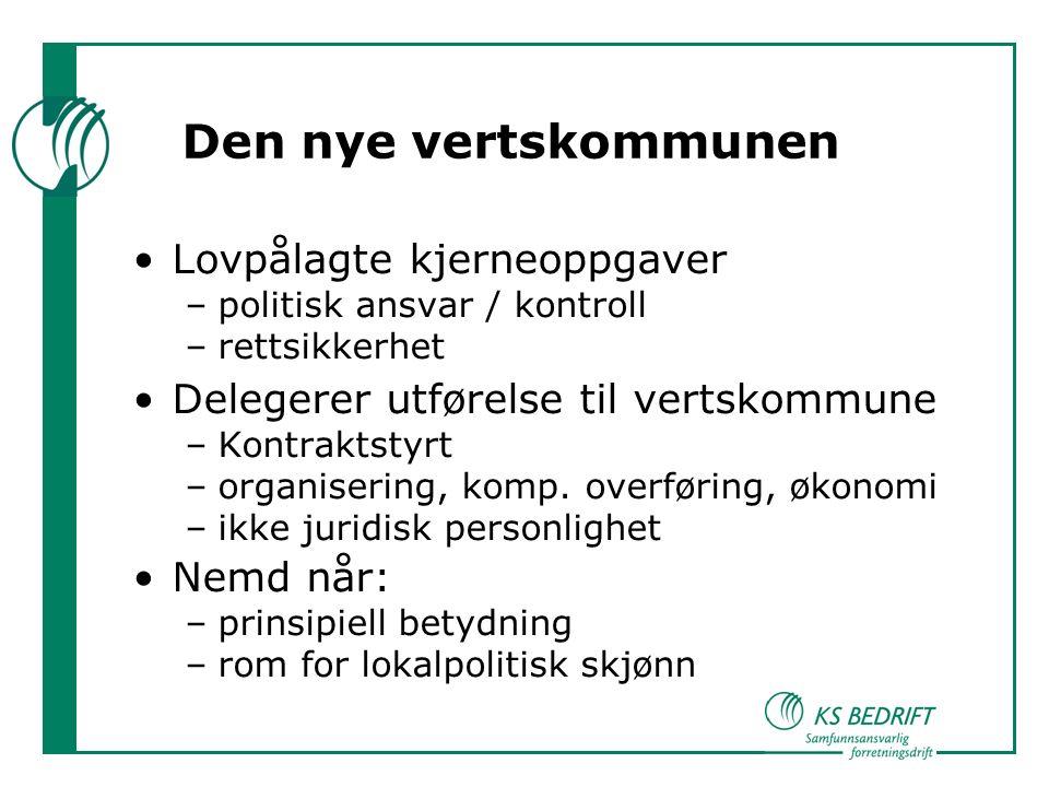 Den nye vertskommunen Lovpålagte kjerneoppgaver –politisk ansvar / kontroll –rettsikkerhet Delegerer utførelse til vertskommune –Kontraktstyrt –organisering, komp.
